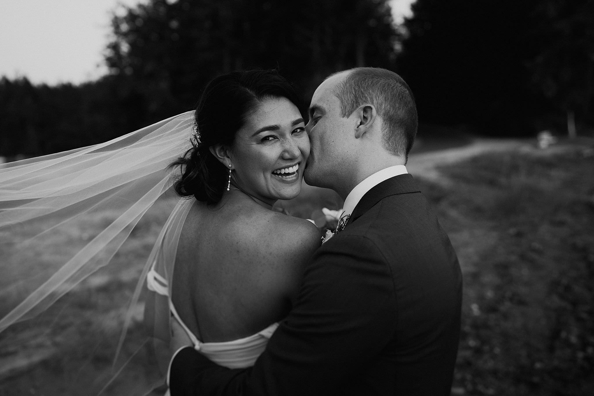 Roche Harbor wedding beautiful black and white
