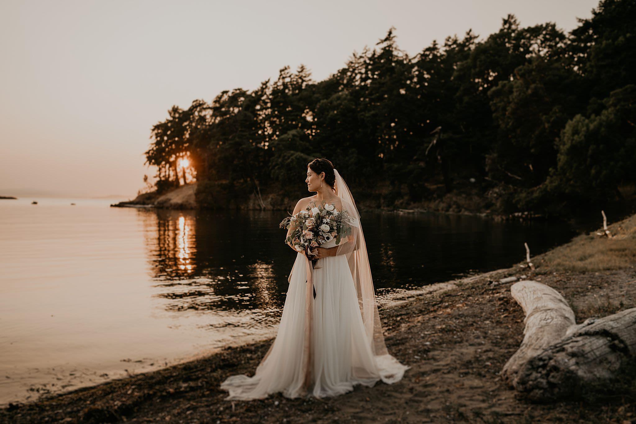God is a woman wedding dress fairy tale Roche Harbor wedding photographer