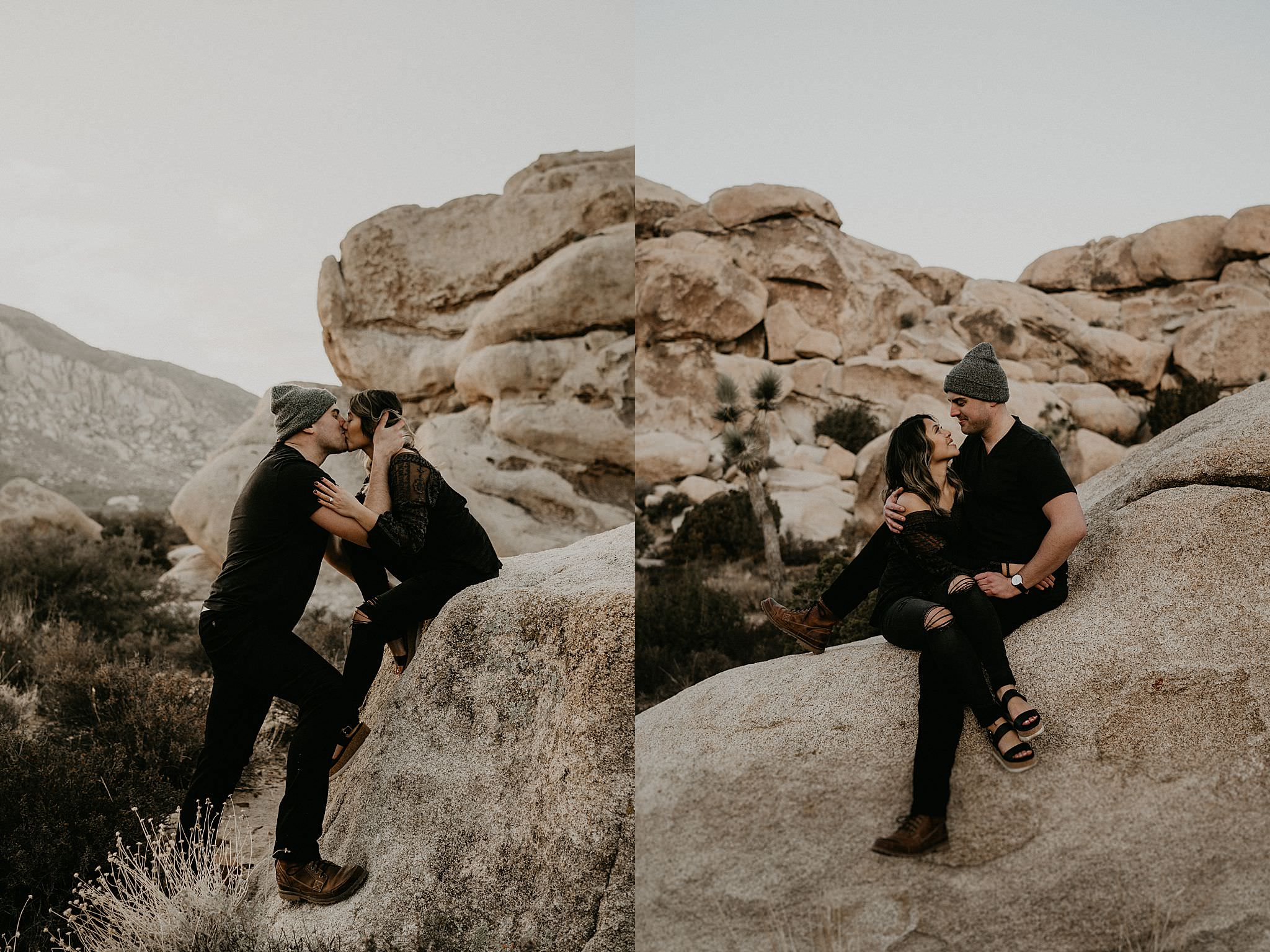 Kissing during sun rise in Palm Springs for couple photos