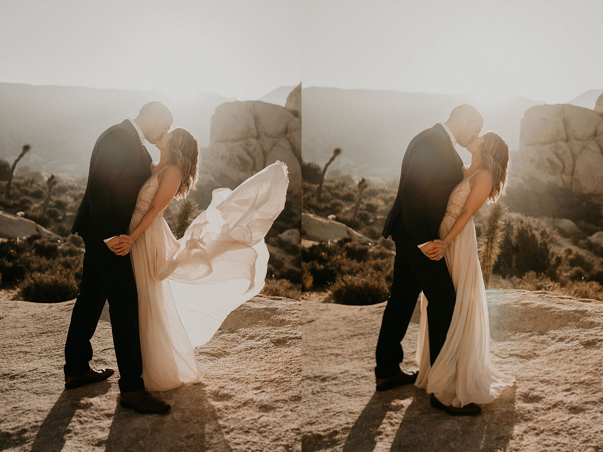 Bride and groom on their elopement day at Joshua Tree national park near Palm Springs desert