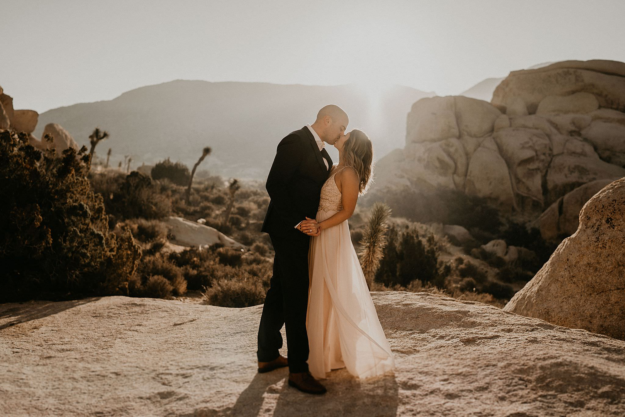 Southern California sun shining beautifully on bride and groom on their wedding day