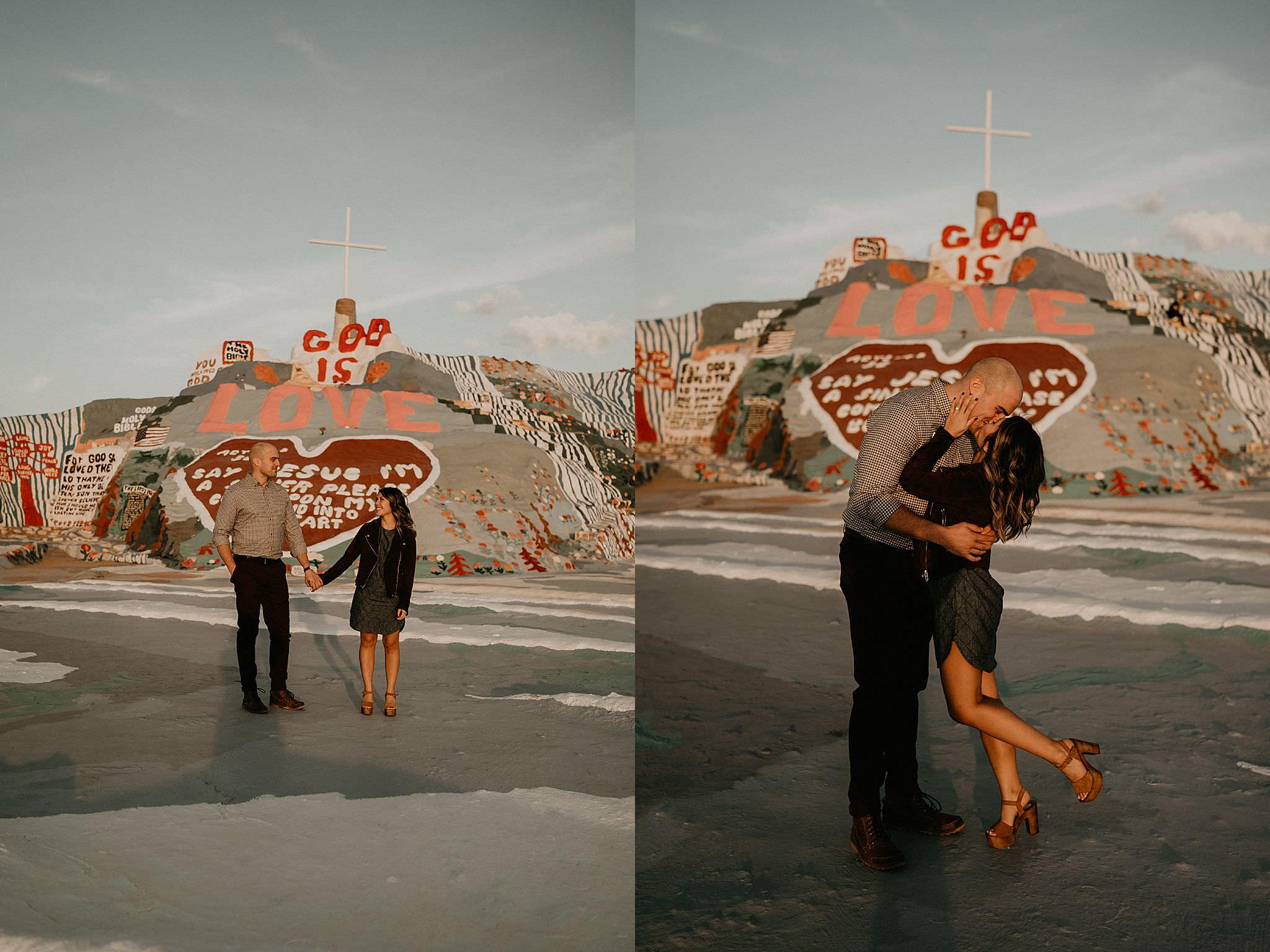Engagement photos at Salvation Mountain