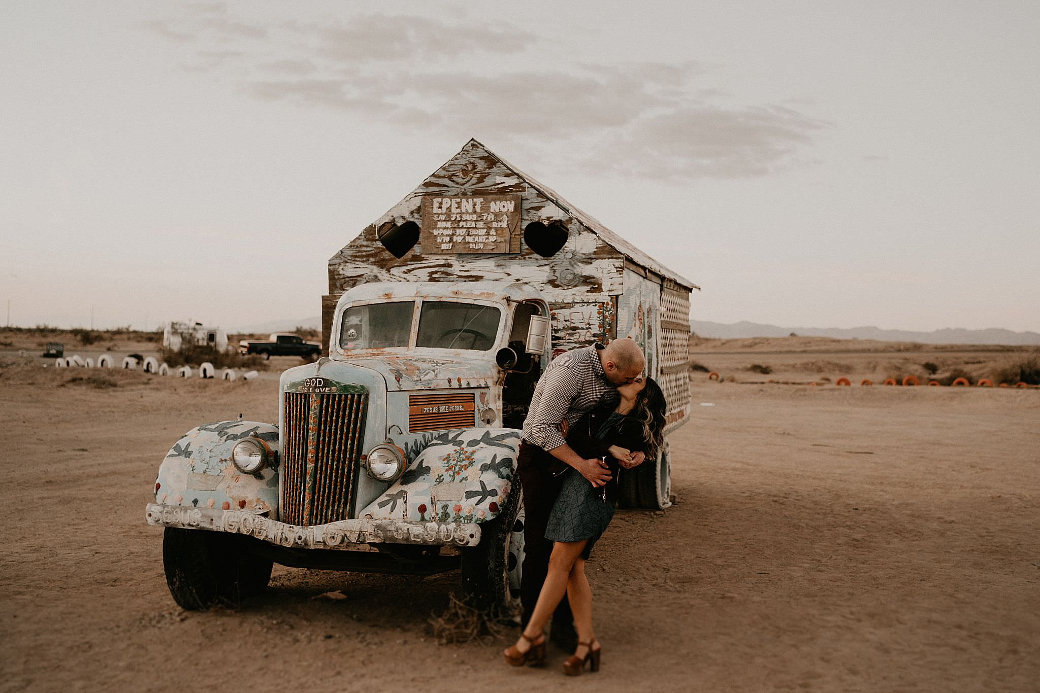 Hipster cool bus found near salvation mountain for engagement photos