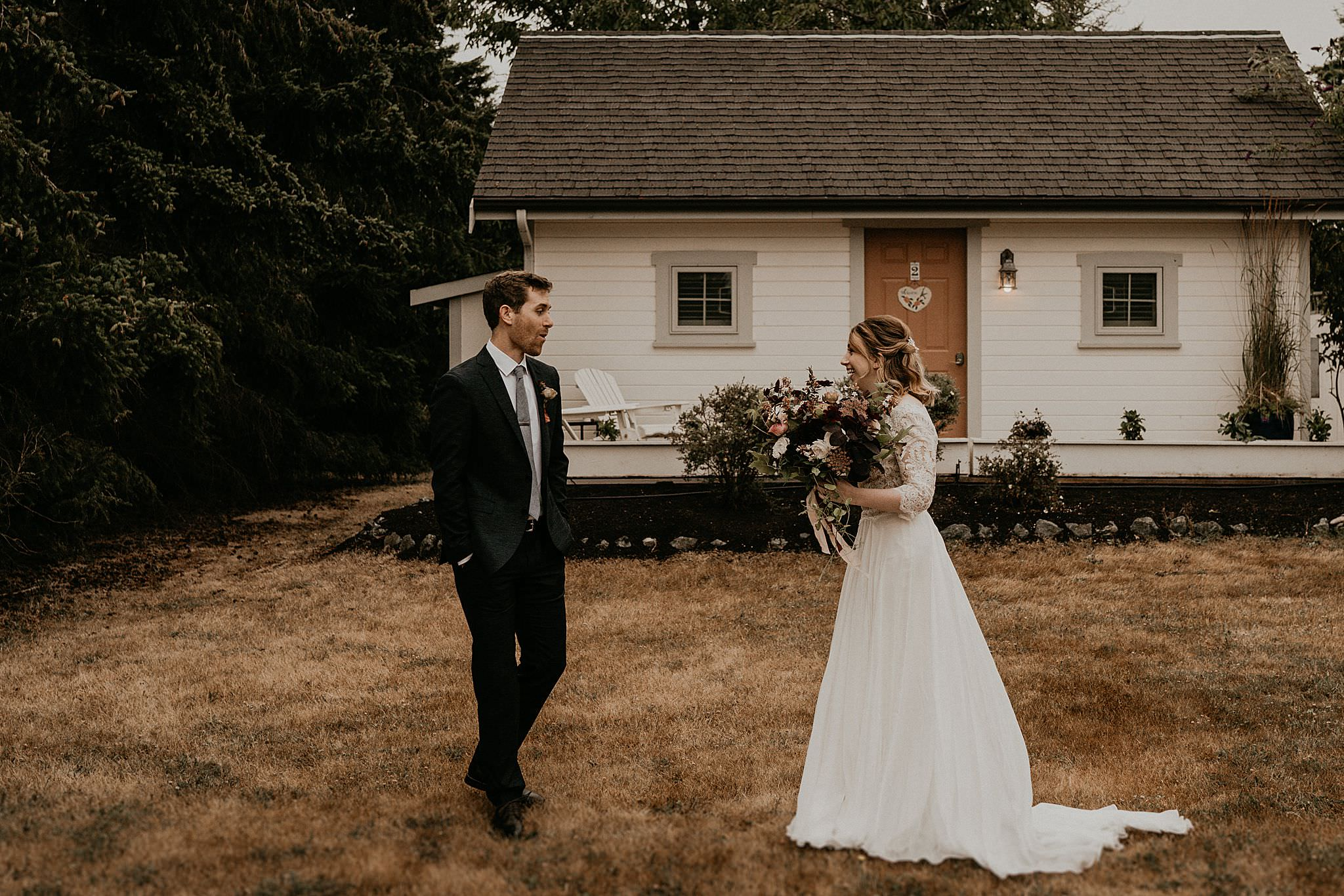 Intimate first look before wedding on Whidbey Island Washington state