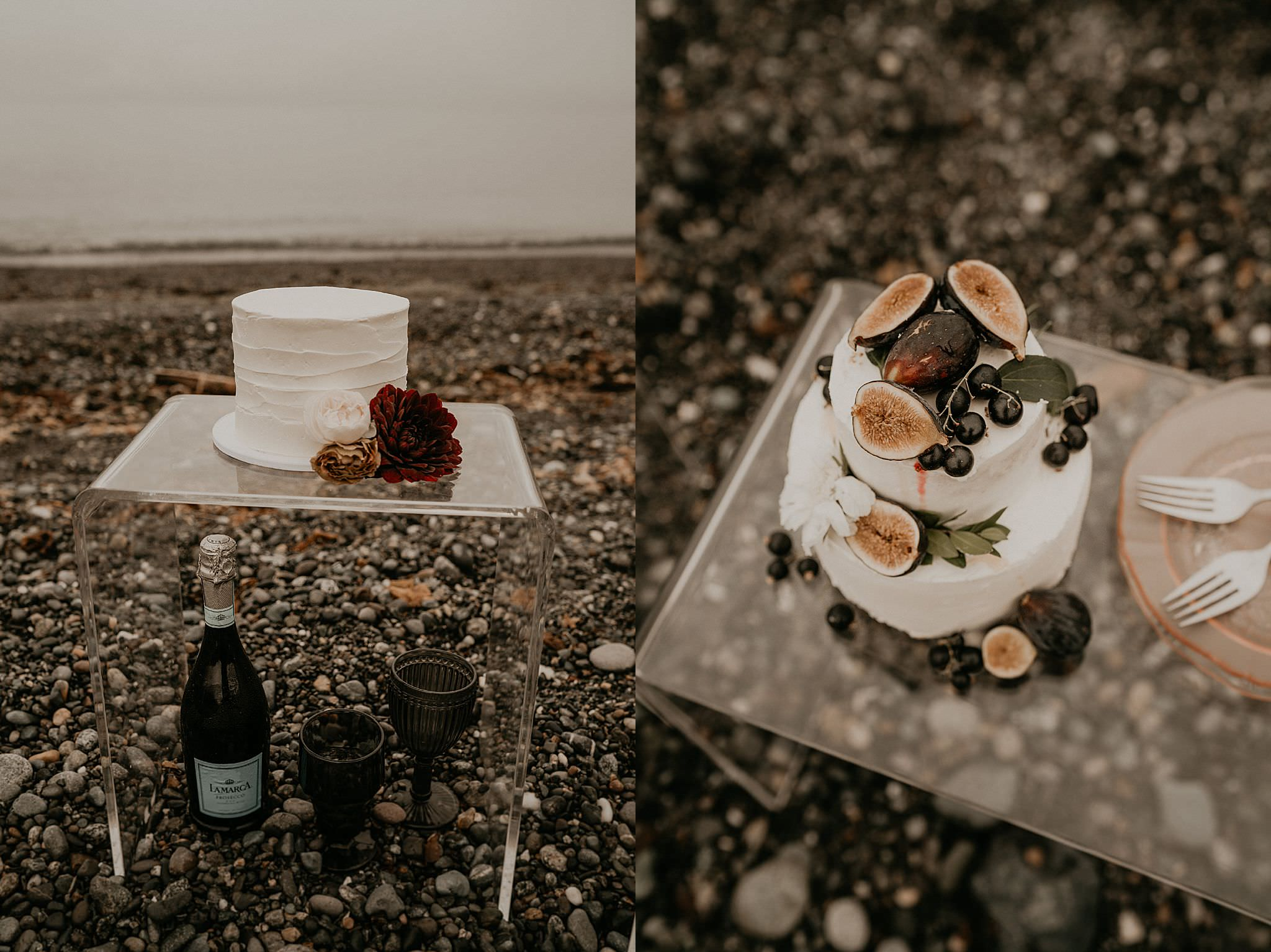 cute white boho wedding cake with fig for a PNW elopement on Whidbey island