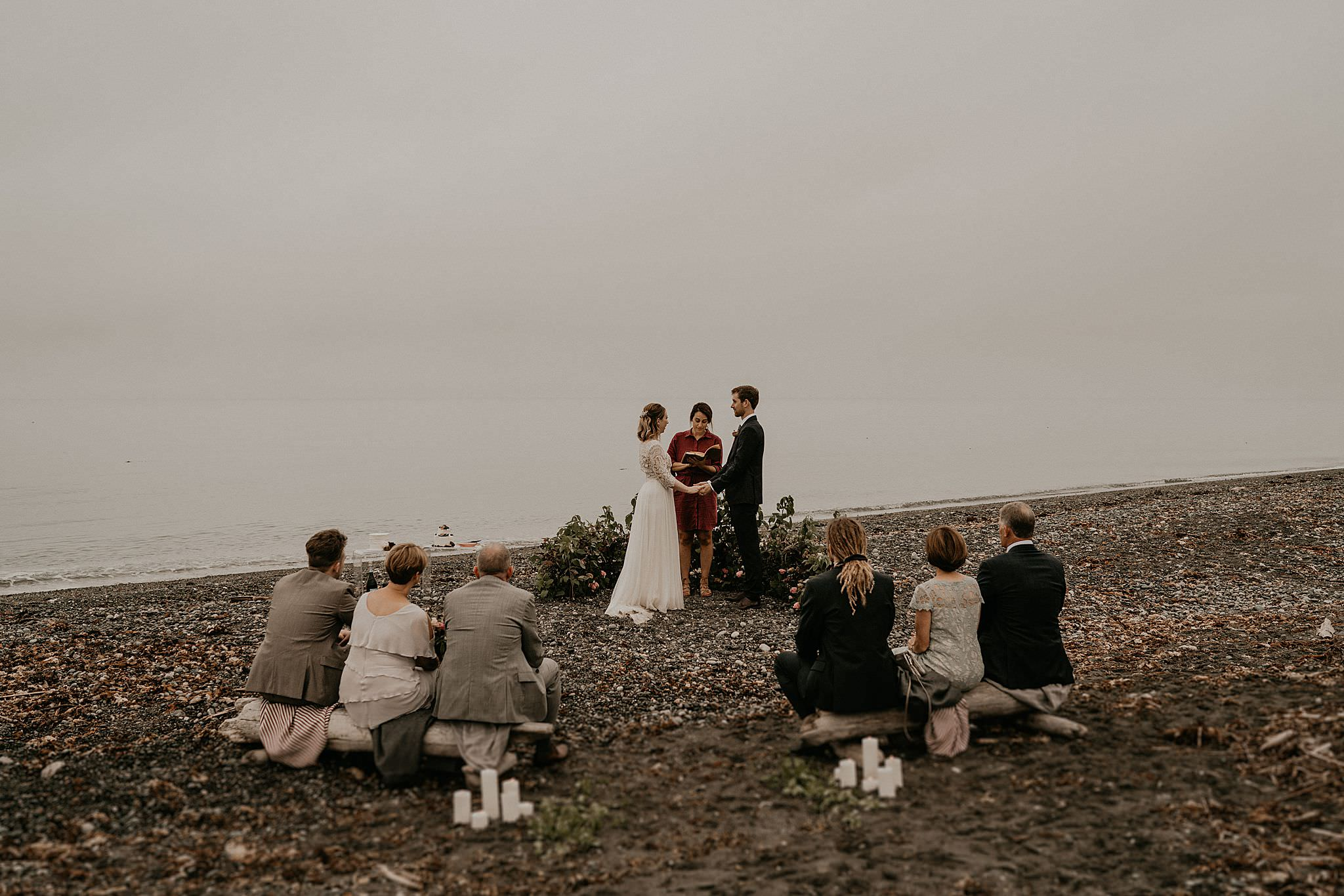 Intimate beach Washington coast wedding elopement Olympic National Park