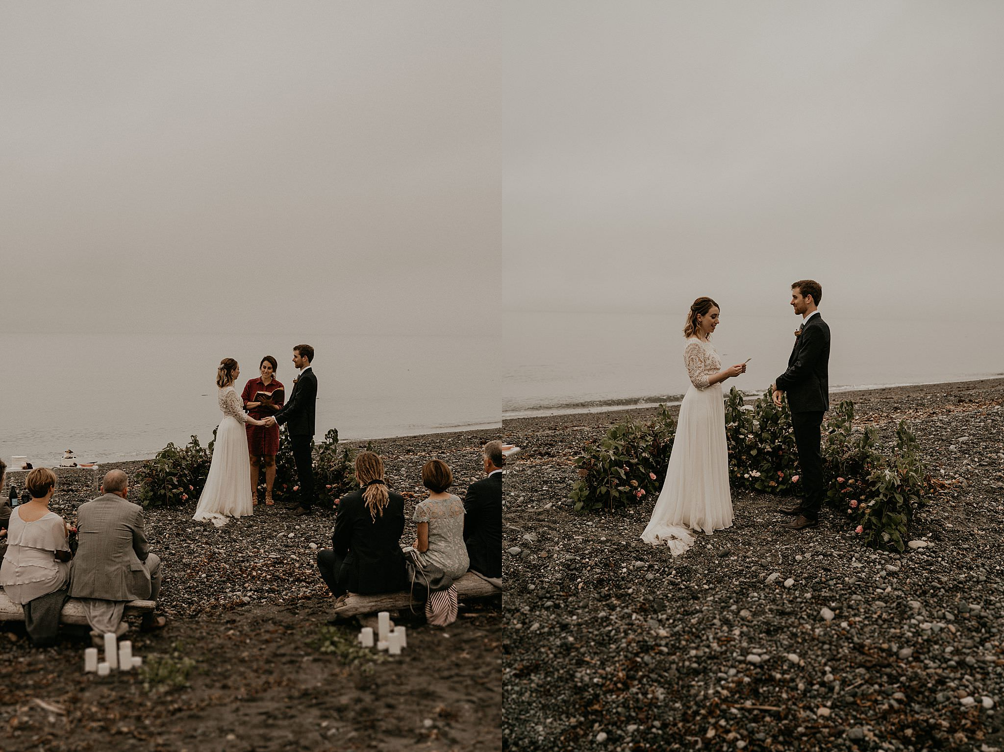 Intimate beach Washington coast wedding elopement