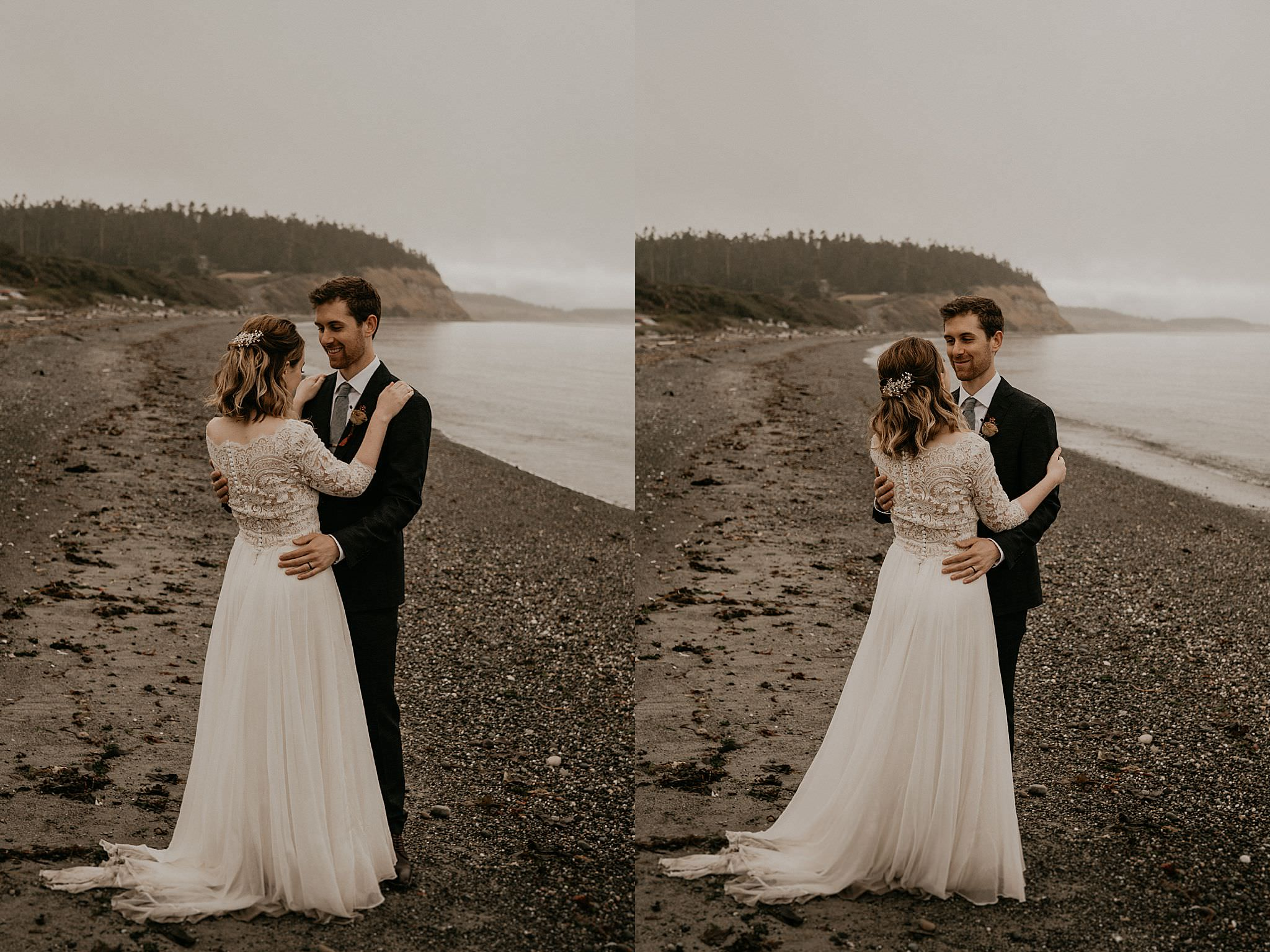 First dance on Whidbey Island for beach elopement in Washington
