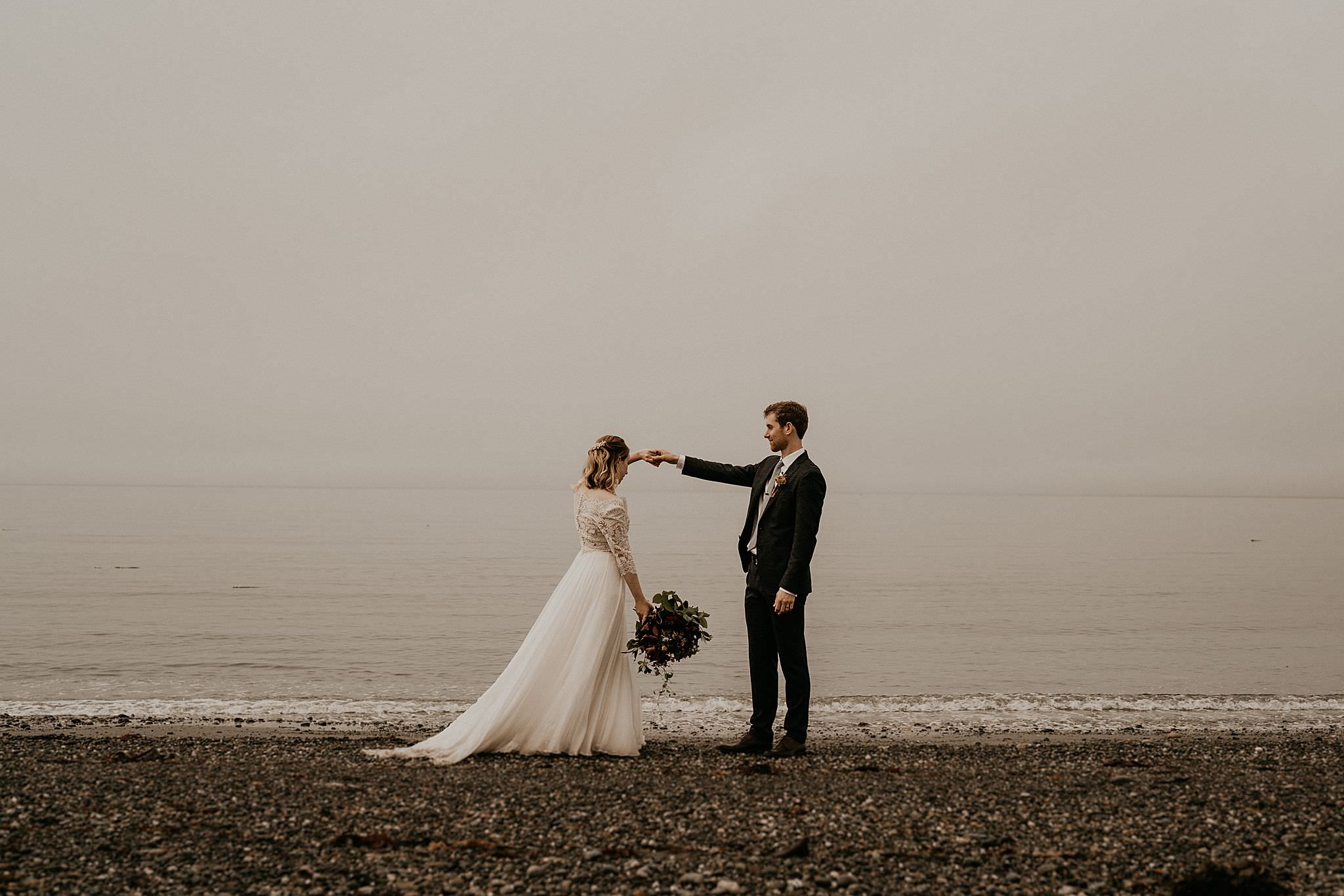 Pacific Northwest elopement near olympic peninsula near Whidbey Island and ruby beach