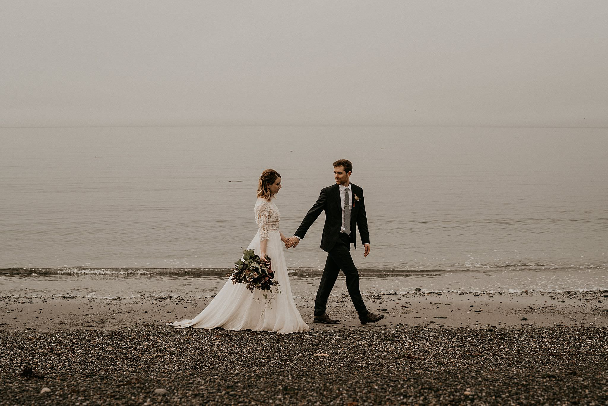 Beach boho elopement near olympic peninsula Washington