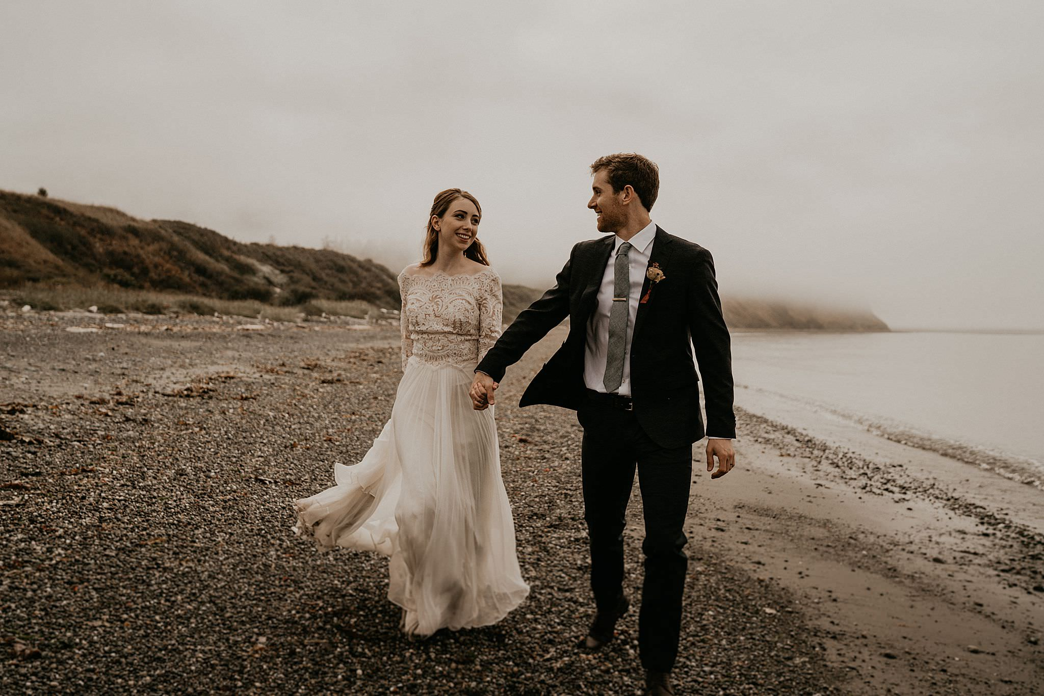 Boho intimate wedding near olympic national park and Whidbey Island