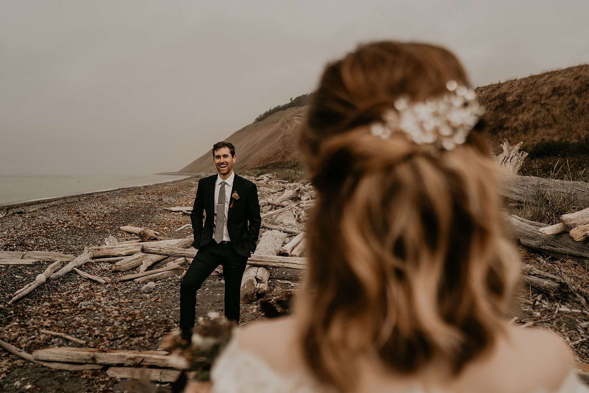 Bride and groom on Whidbey Island for their intimate wedding elopement