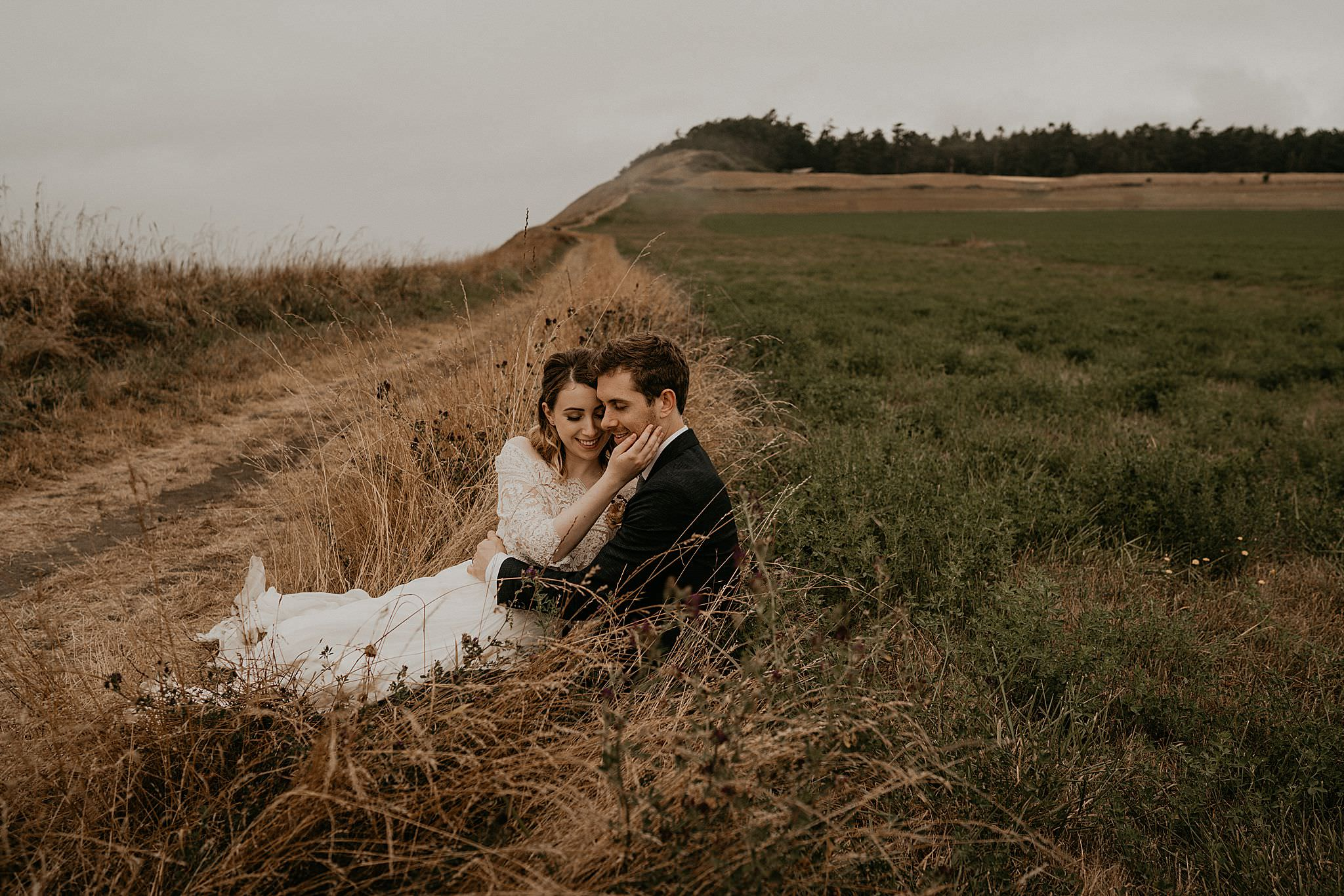 Newly weds celebrating their intimate elopement on Whidbey Island near Ebey's landing