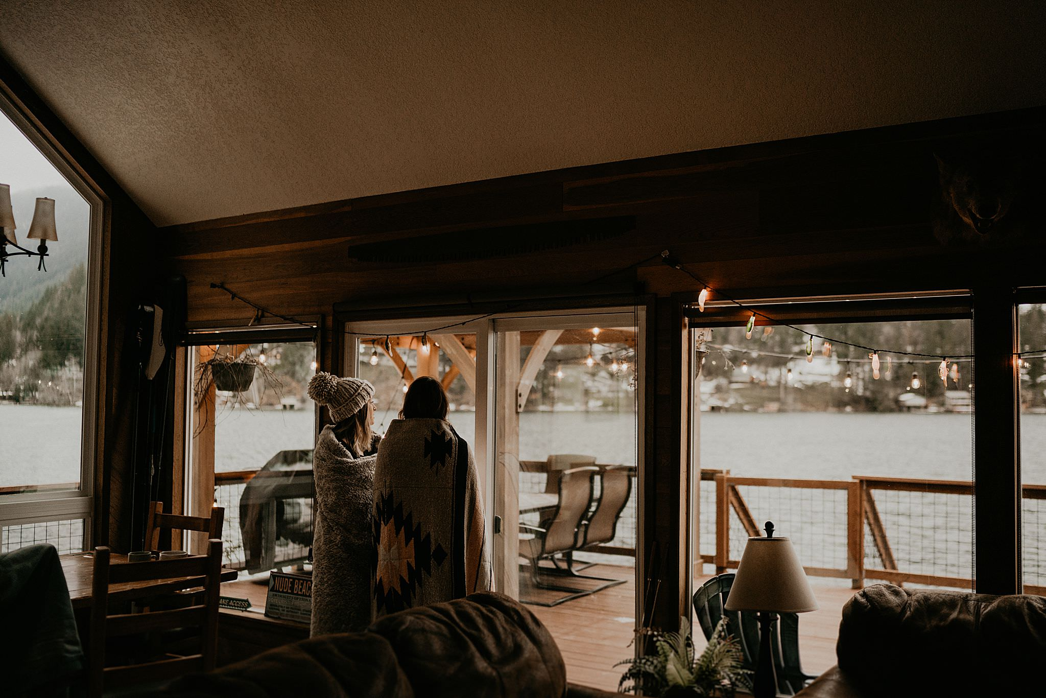 Intimate Cabin elopement getting ready photo