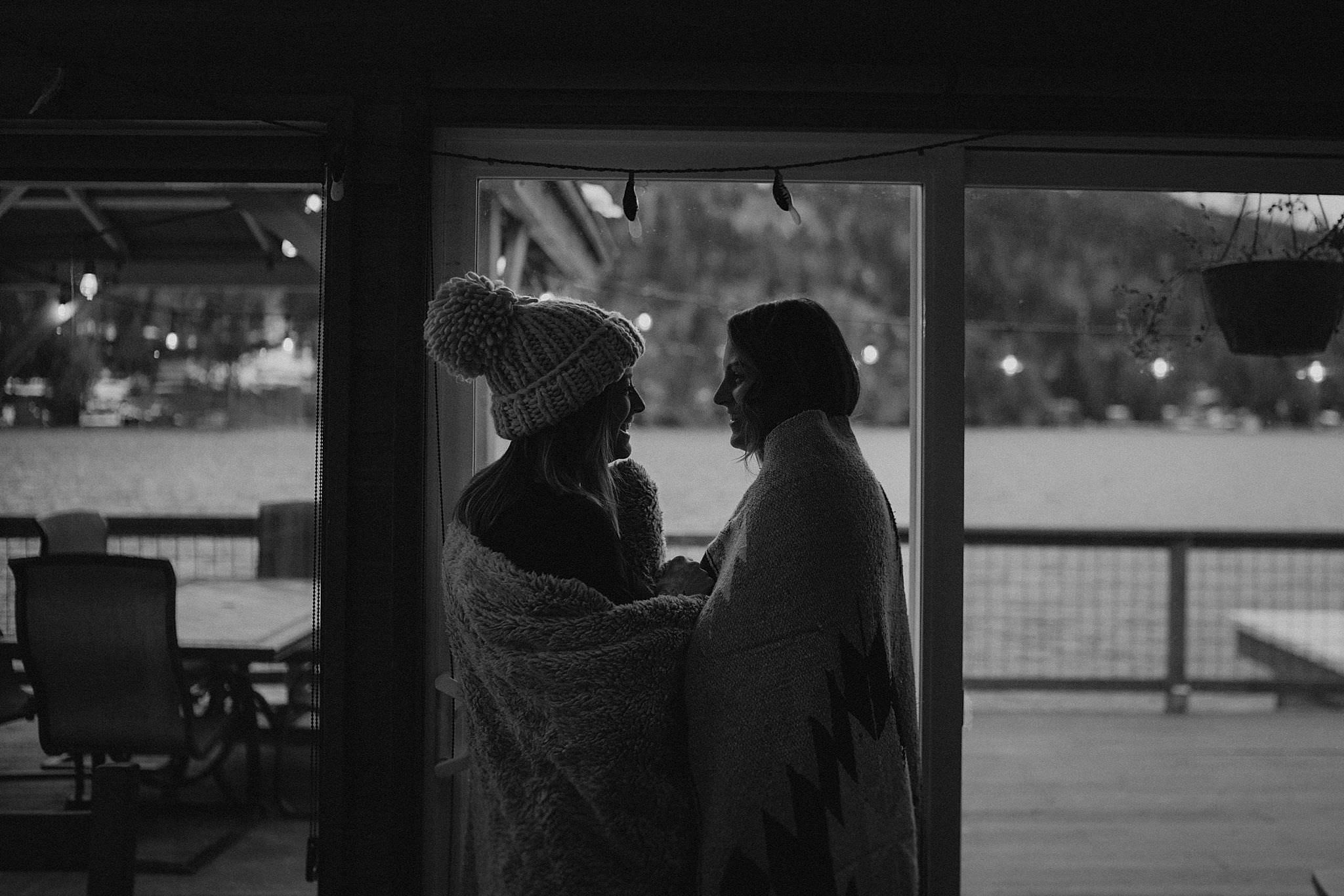 Intimate Cabin elopement getting ready photo in port angeles olympic national park