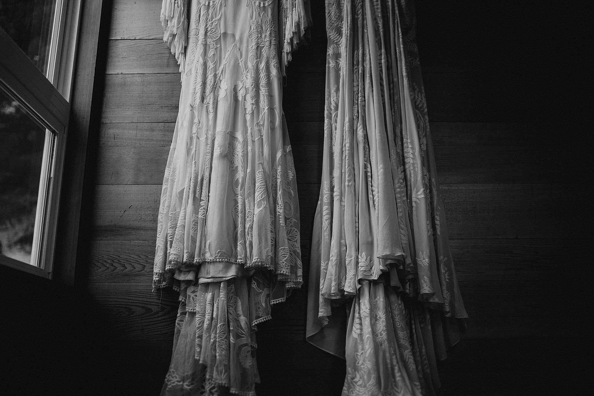 Rue de seine boho wedding dress for Olympic National Park Elopement at Ruby Beach Cabin