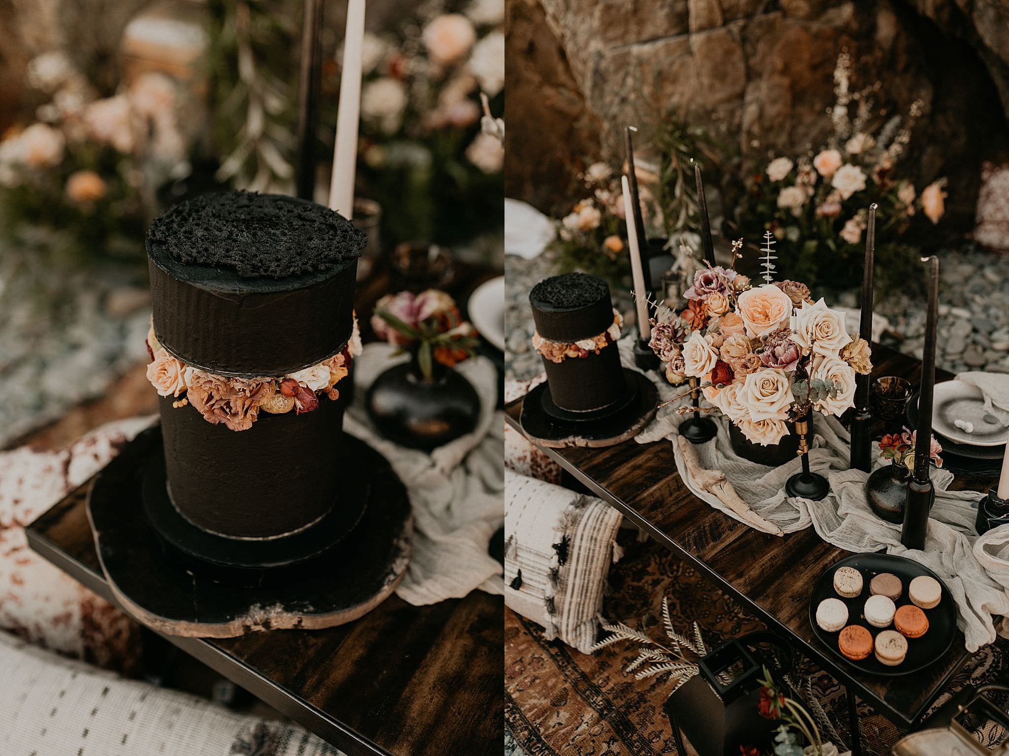 Beautiful wedding details with cakes flowers and decor for beach wedding at Ruby