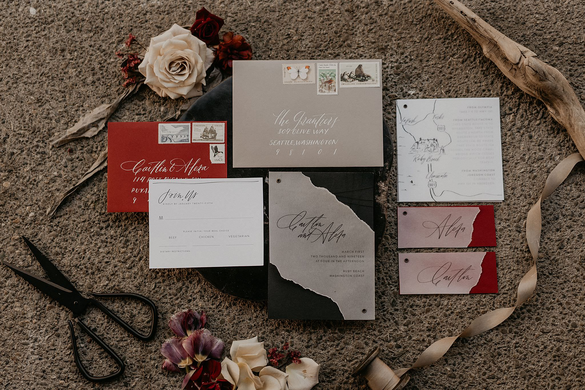 Invitations and stationaries by Ink and Sable for olympic national park elopement