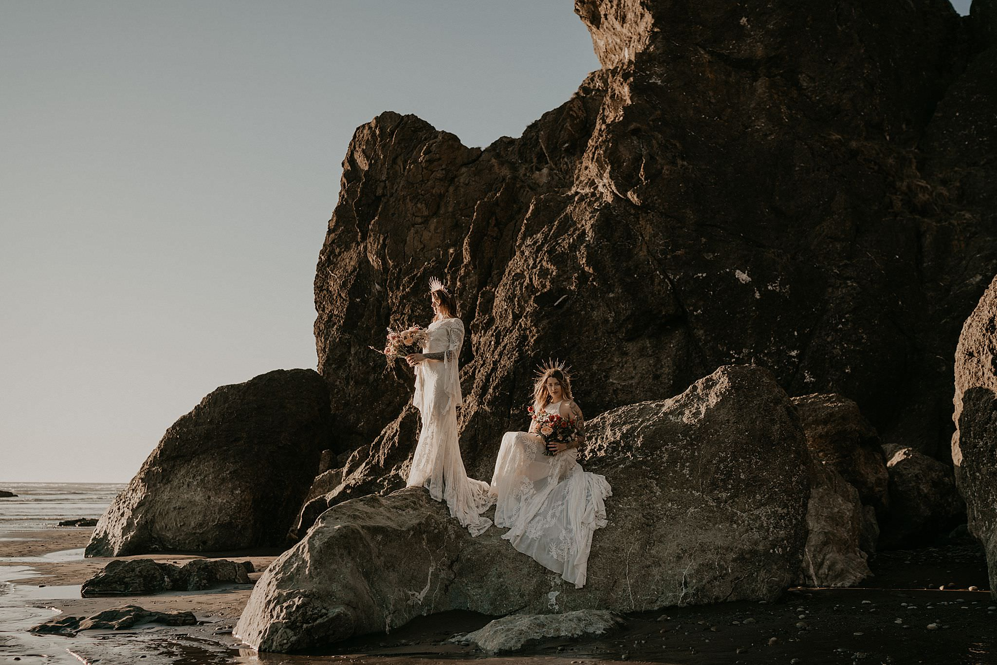 Gorgeous same sex couple at Ruby Beach Vow Renewal wearing Rue de seine dress from Seattle Dress Theory