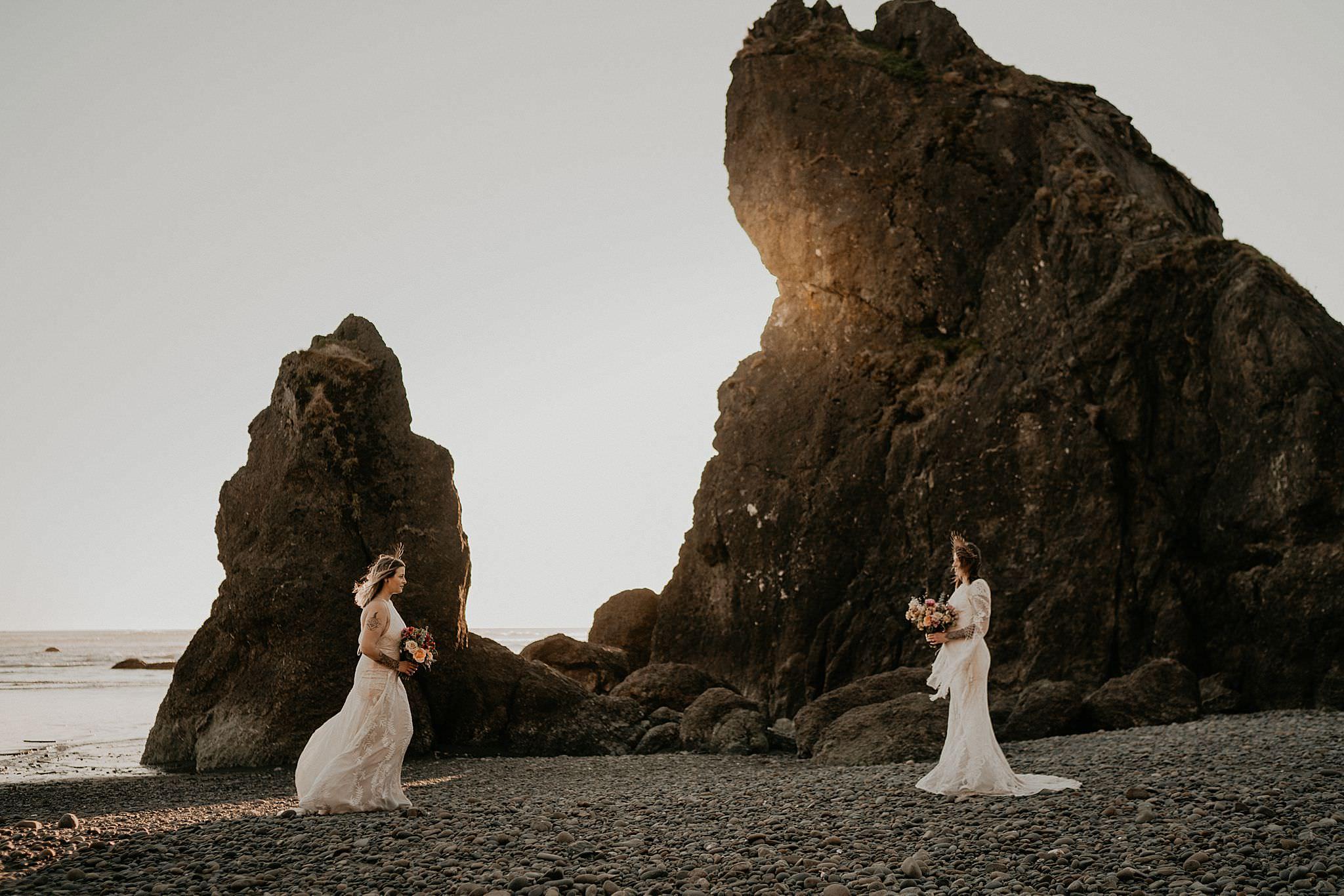 Lesbian brides at Ruby Beach elopement wearing bohemian Rue de seine dress from Seattle Dress Theory