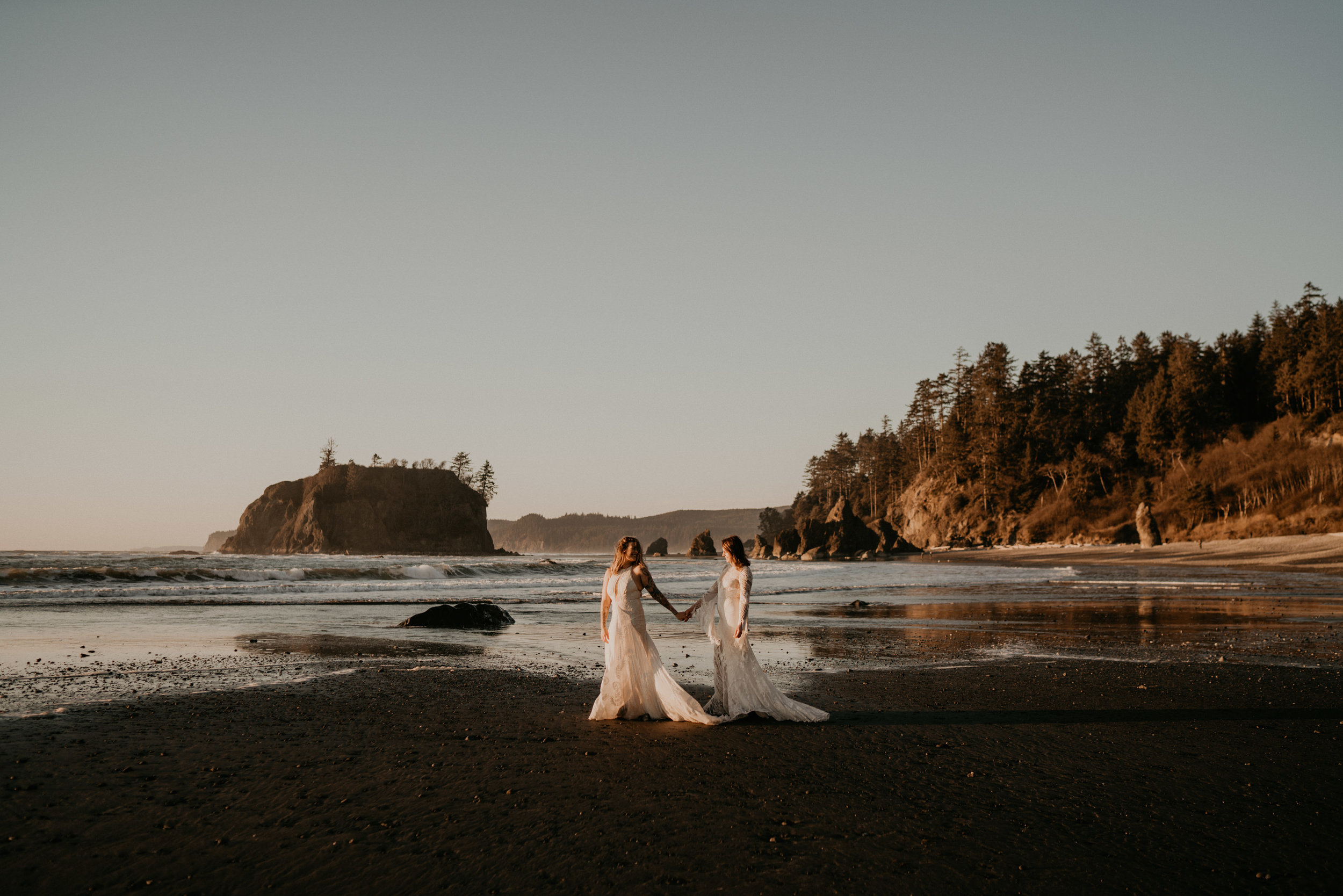 Boho LGBT elopement at ruby beach of olympic national park