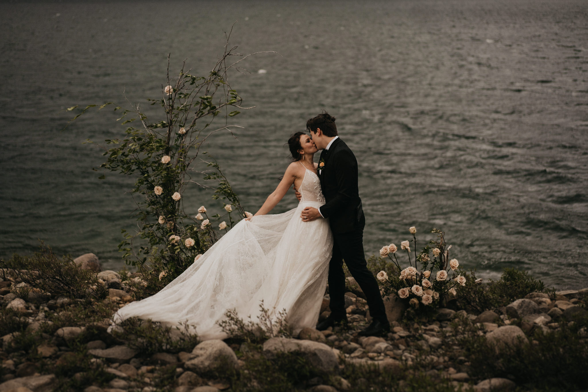 Boho and elegant elopement by an alpine lake in washington state. Gown by Floral Bridal of The Dress Theory Seattle