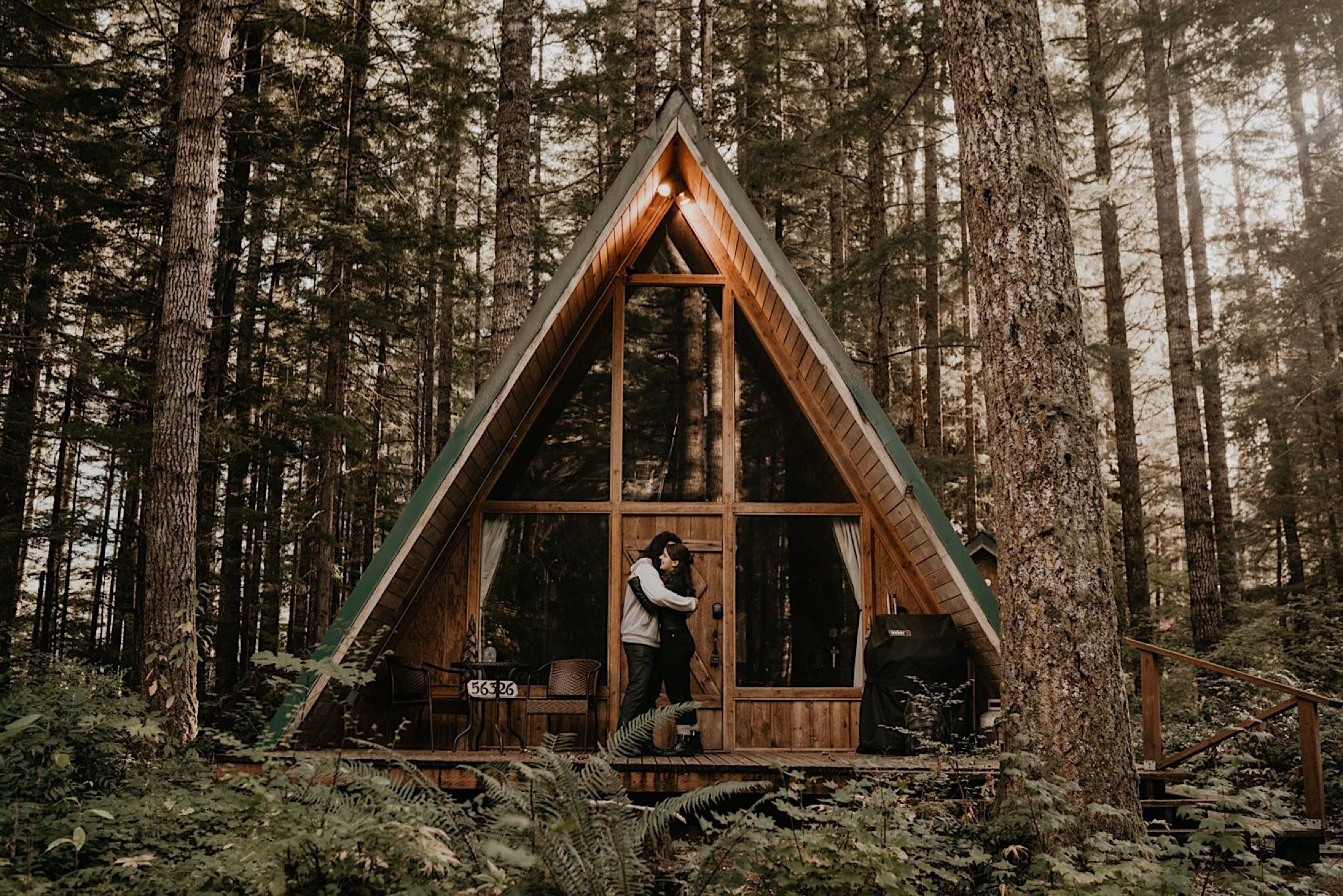 Mount rainier a-frame cabin wedding elopement