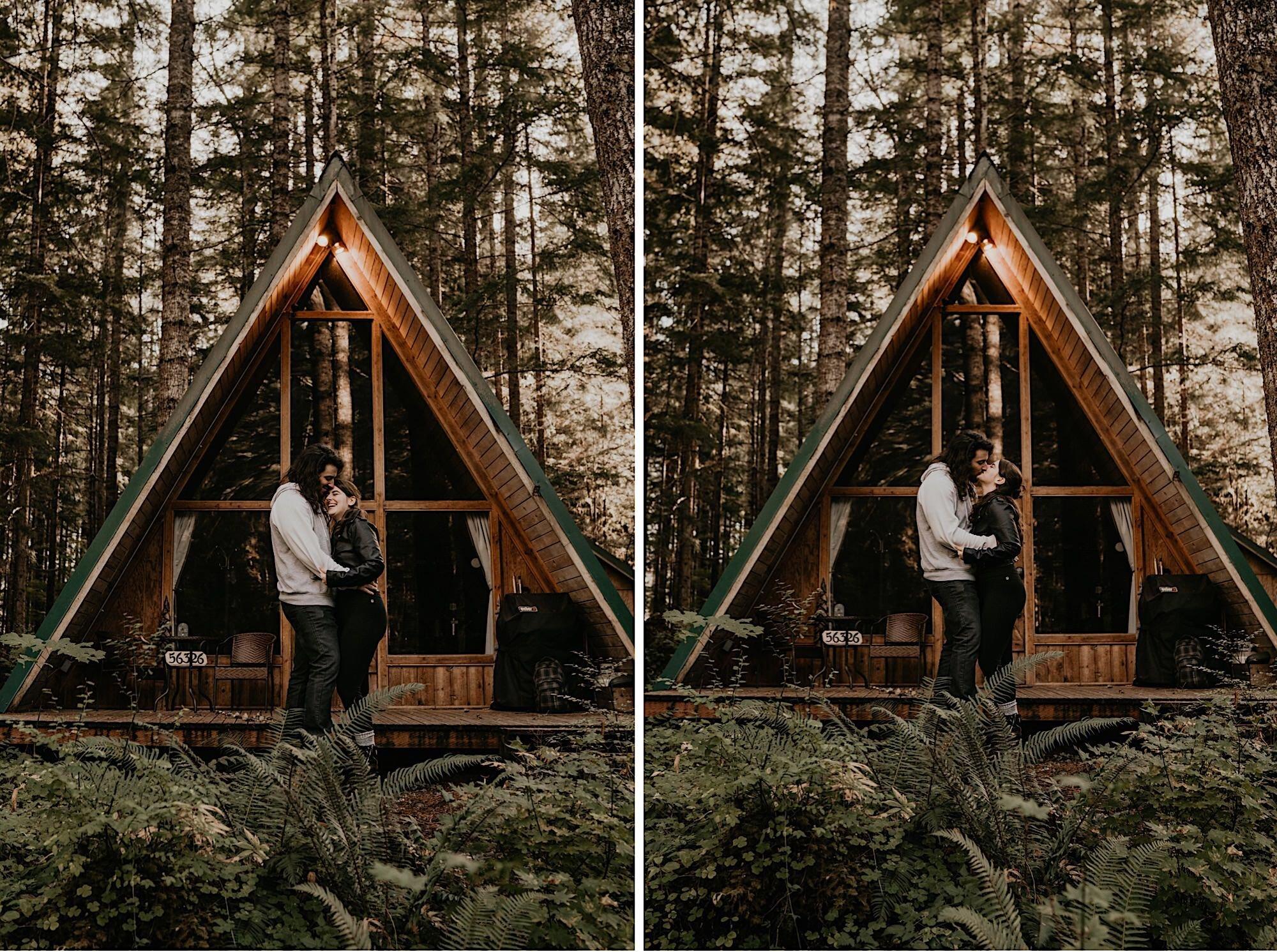 PNW A-frame cabin near Mount Rainier National Park before their elopement