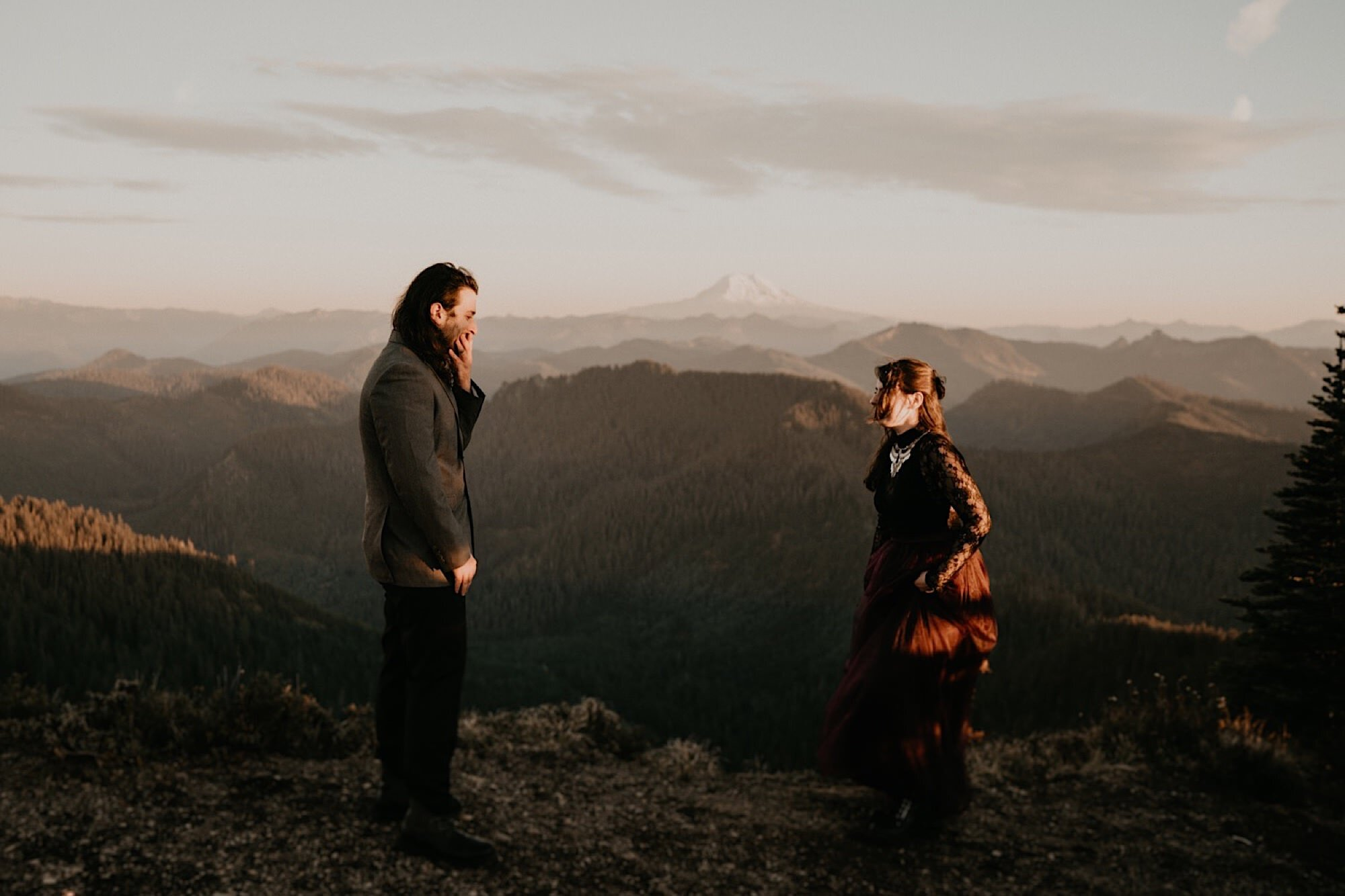 First Look during sunset on Mount Rainier National Park for adventure elopement