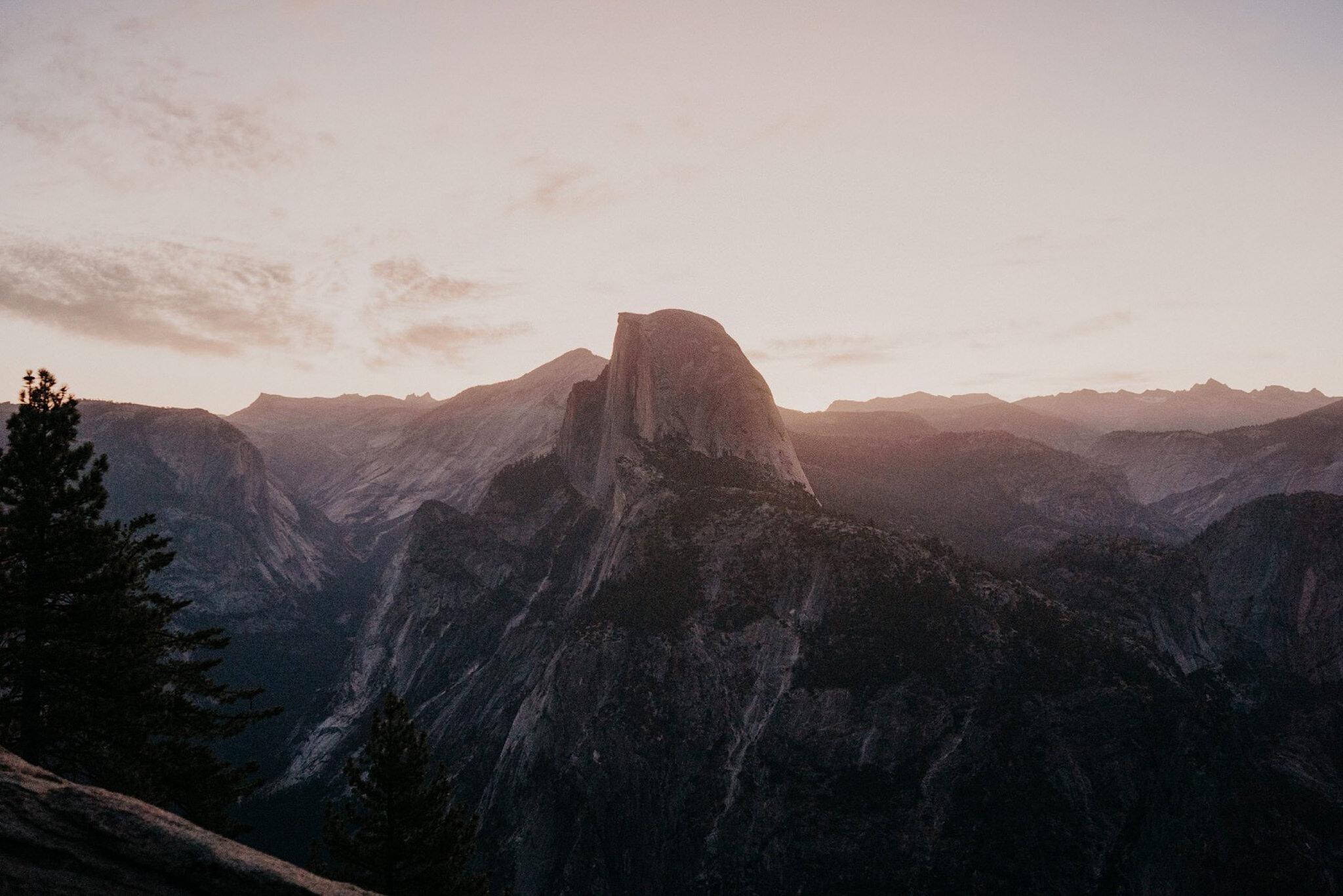 Half Dome at Sunrise Yosemite national park elopement wedding