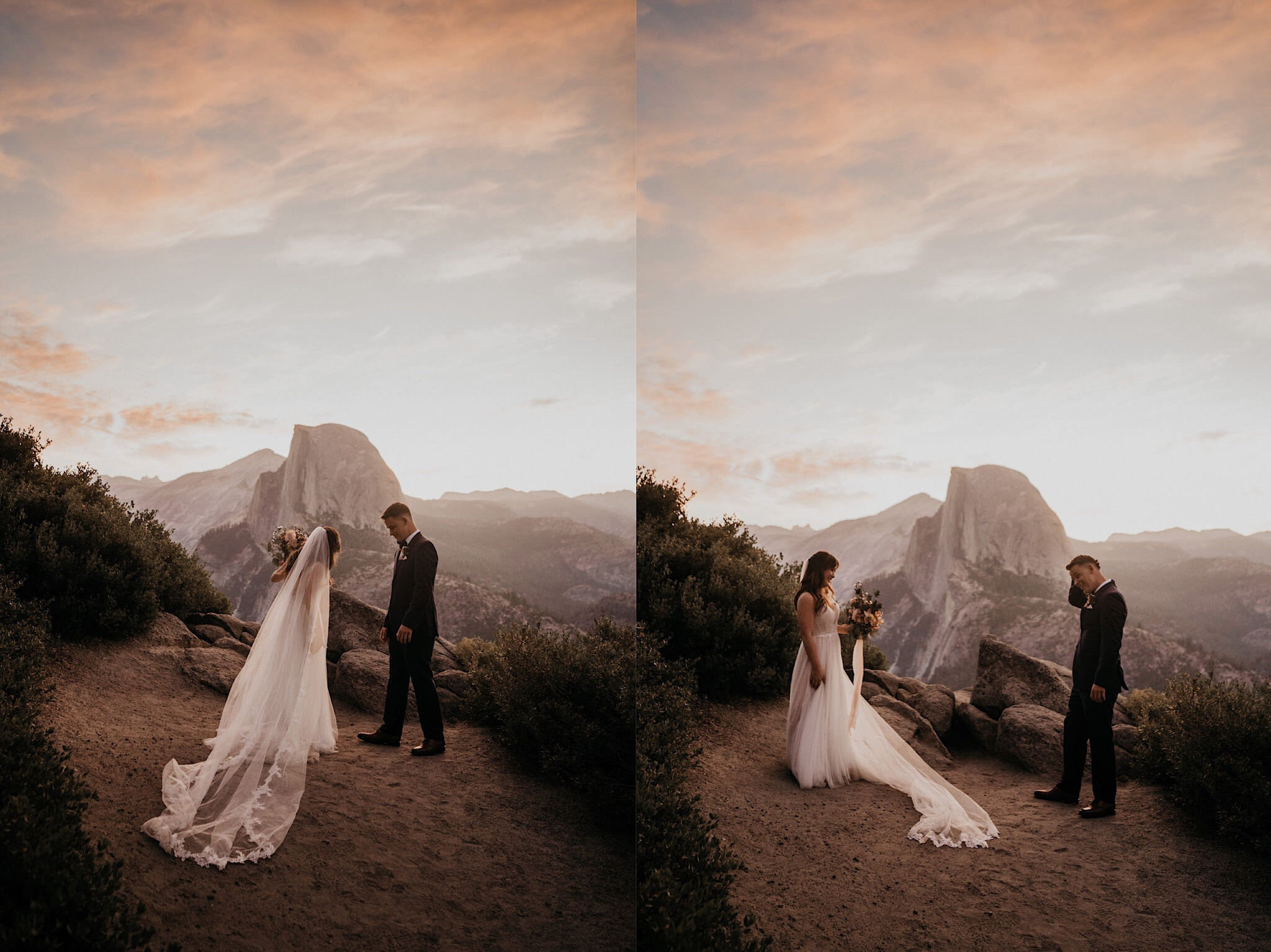 Bride and groom during their first look on Glacier Point in front if Half Dome during their elopement photography