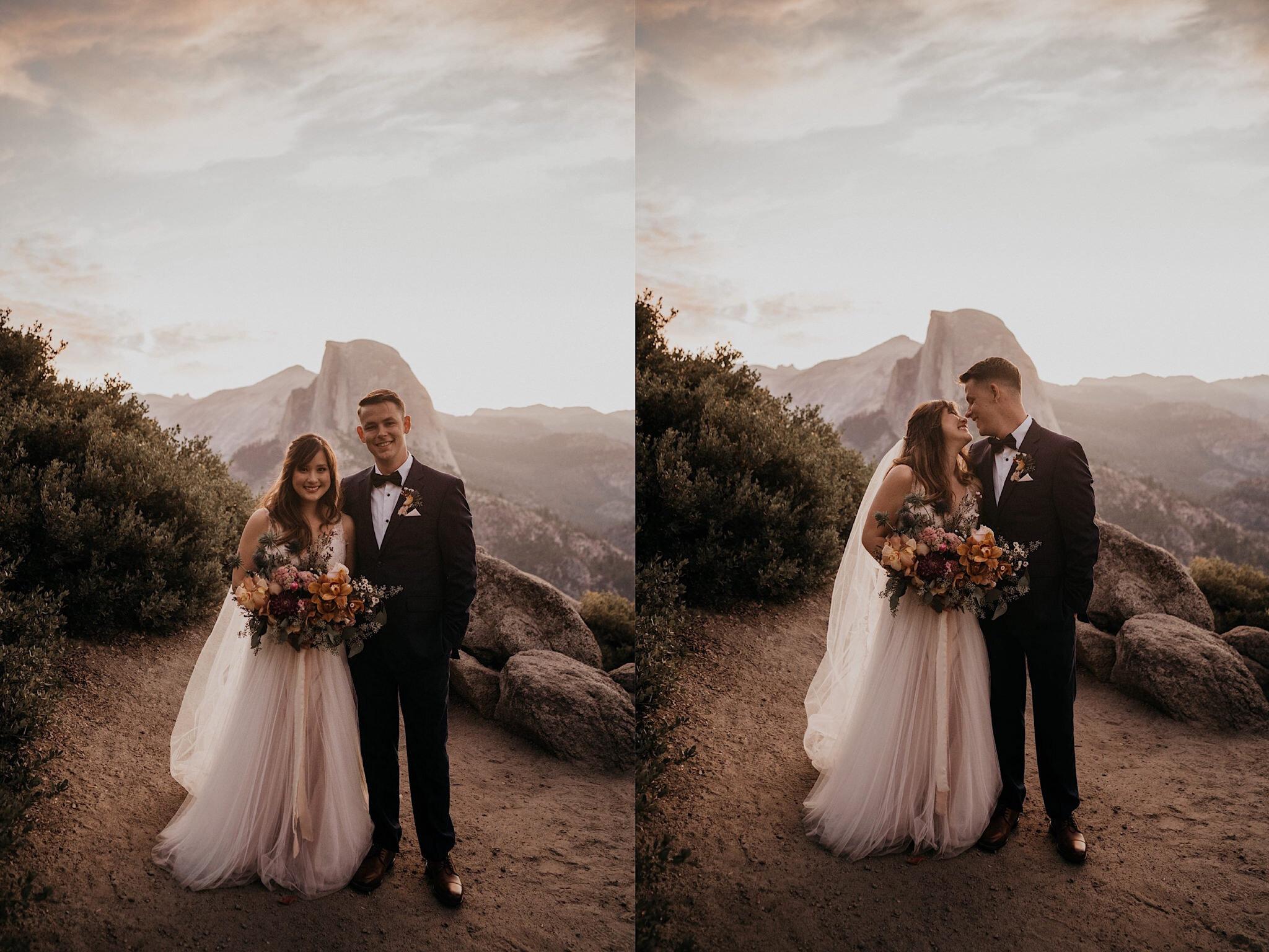 Yosemite romantic and boho hiking elopement