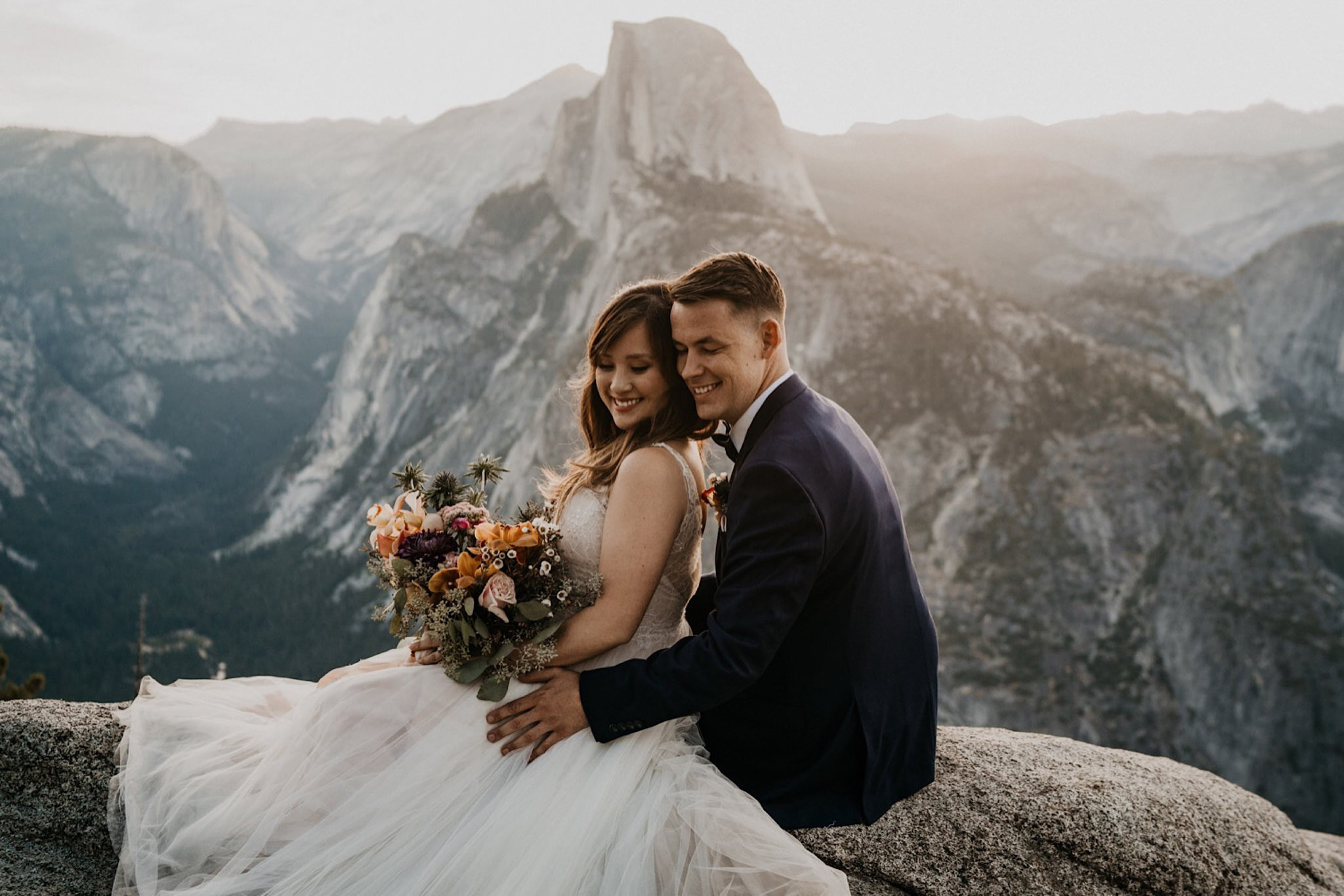 Glacier Point Elopement at Yosemite National Park | Boho blush bouquet by rain and pines