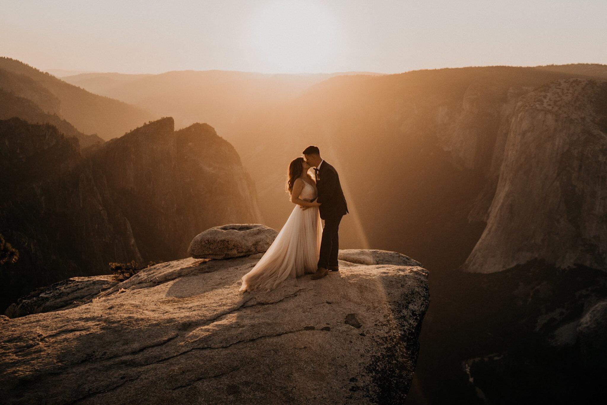 Gorgeous sunset Taft Point Yosemite National Park elopement
