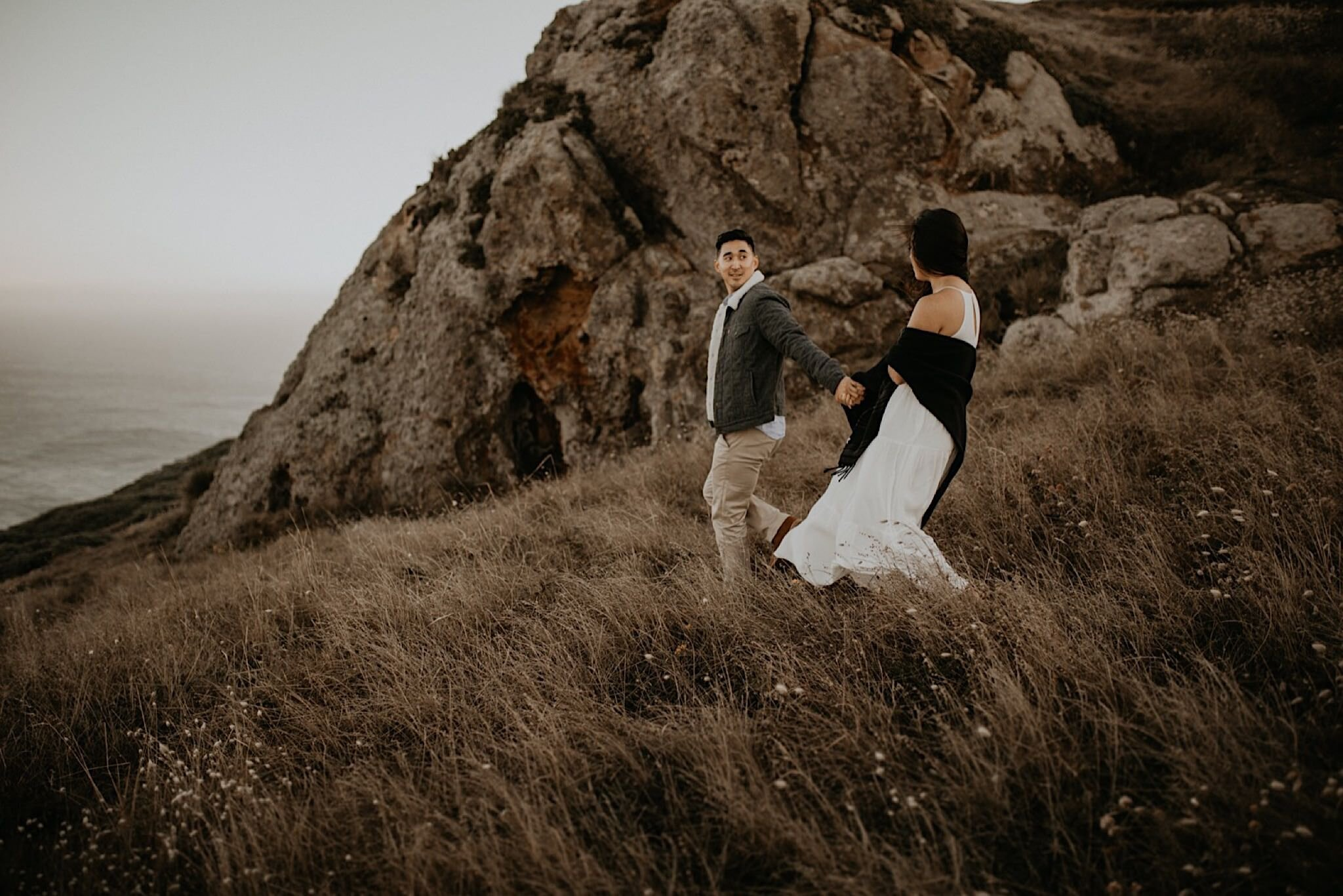 Romantic point Reyes engagement photos at the lighthouse