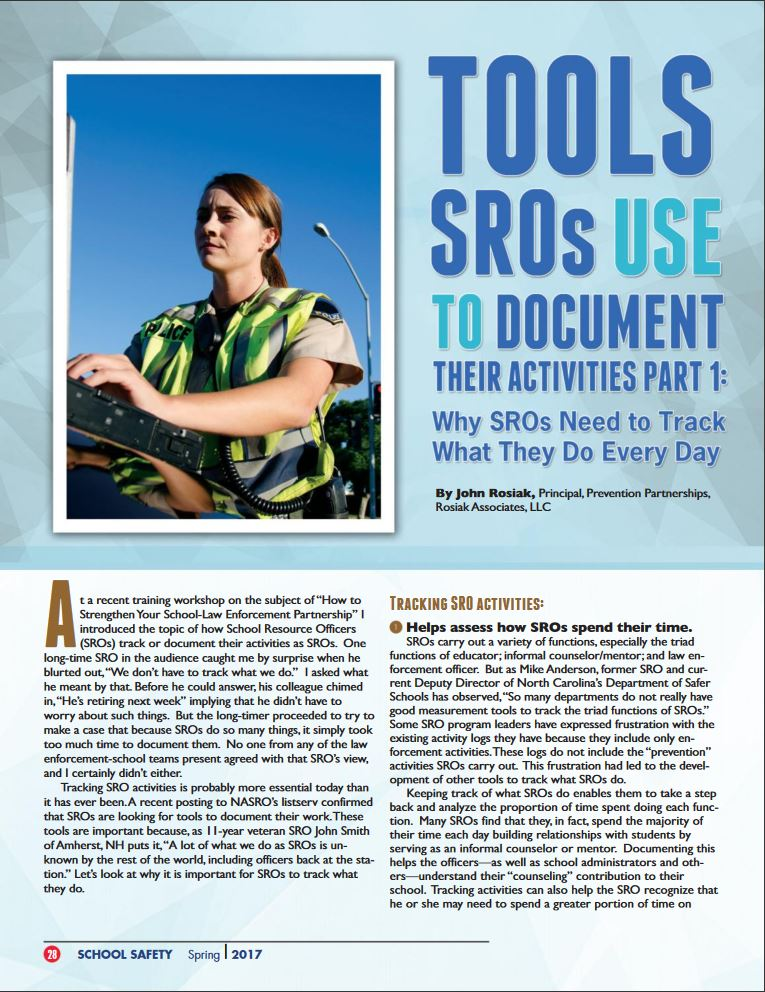 Clicking on this thumbnail takes you to both Parts 1 and 2 of the article that describes why School Resources Officers need to document what they do, and ways to track those activities.