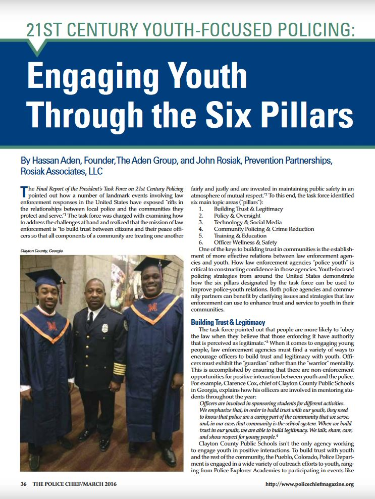 Original article about how the 6 pillars of 21st Century policing apply to youth-focused policing. Appeared in Police Chief magazine, March 2016, published by the International Association of Chiefs of Police.