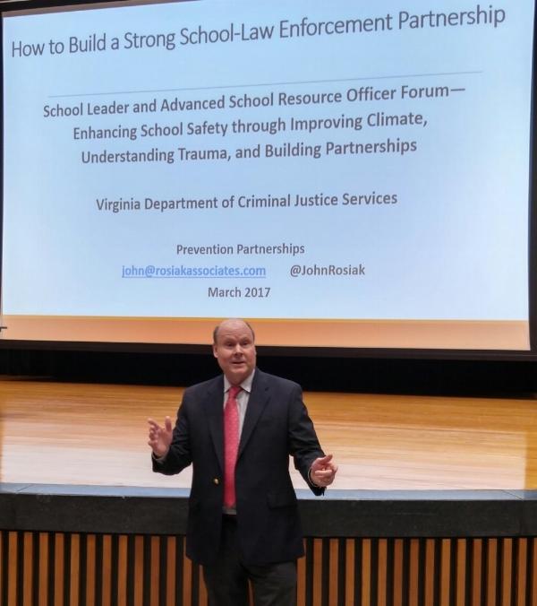 Presenting workshop on building school-law enforcement partnerships.