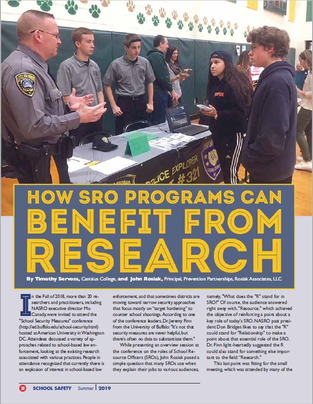 Coauthored article in NASRO's Journal of School Safety. Summer 2019. Featured outcomes of the School Security Measures meeting of researchers in Washington, DC, sponsored by the Spencer Foundation.