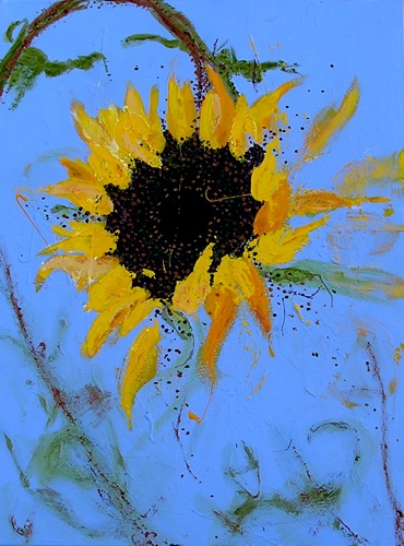 "Scott's Sunflower #2 <br> 18""x24"" Acrylic on Canvas"
