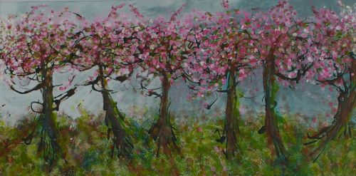 "Vancouver Spring: Kerrisdale Church Trees 12""x24"" <br> Acrylic on Canvas"
