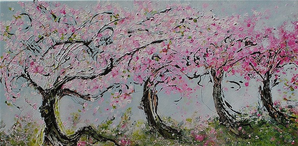 "Vancouver Spring: Kerrisdale Church Trees <br> 12""x24"" Acrylic on Canvas<br>SOLD"