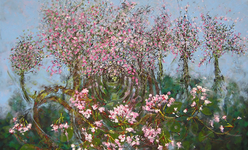"Vancouver Spring: West 14th <br> 30""x48"" Acrylic on Canvas"