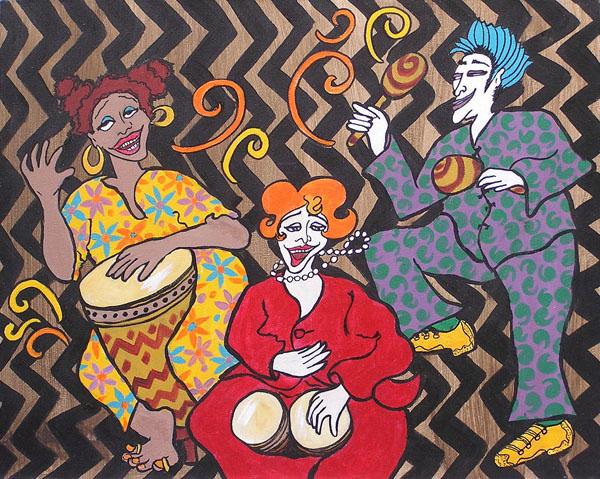 "Corazon Latina <br> 15""x20"" Acrylic on Illustration Board"