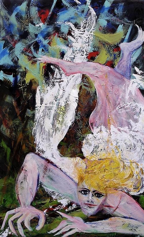 """Fallen Angel <br> 48""""x30"""" Acrylic on Canvas"""