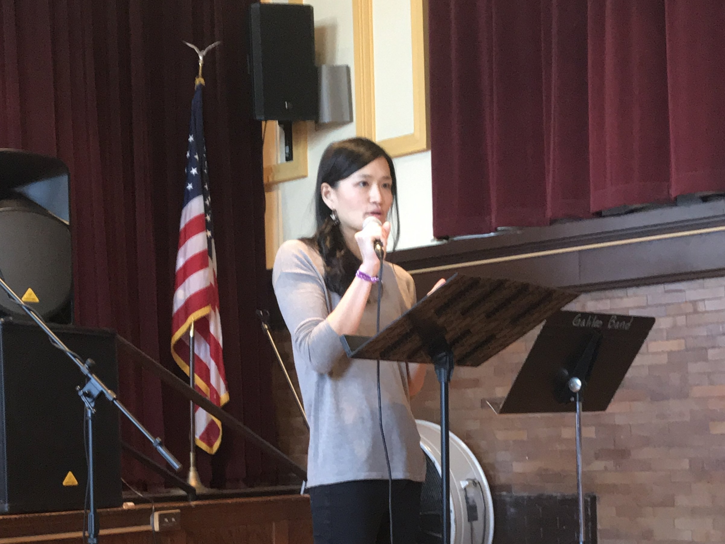 Amy preaching at transformation city church, church in chicago