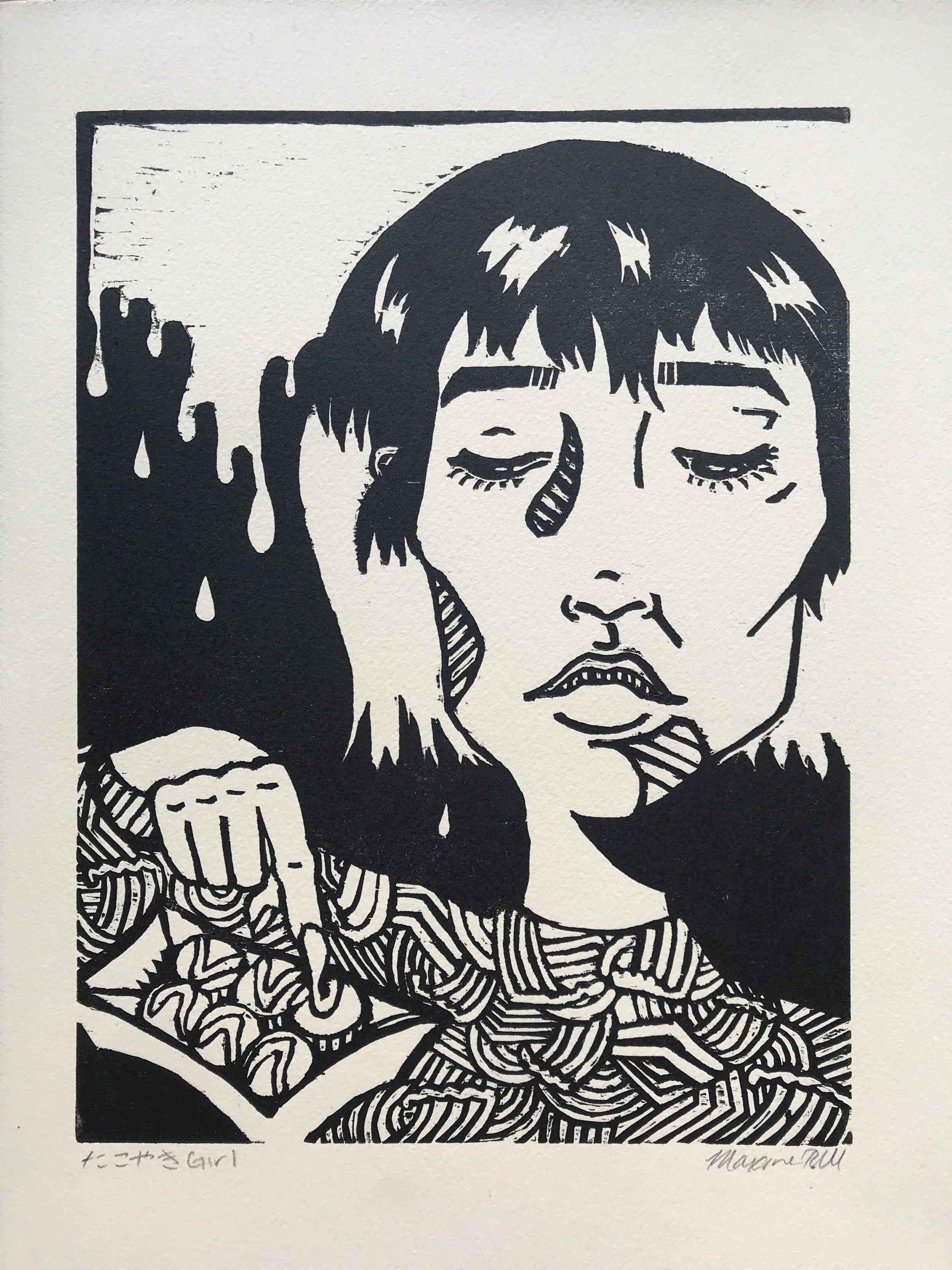 たこ焼きGirl (tan paper, 2017)