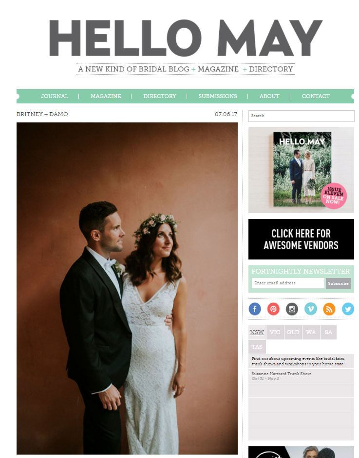 Hello May Magazine - In June 2017 I was featured on the Hello May Magazine Blog, my work for Britney and Damien's wedding was featured.Read the article here!