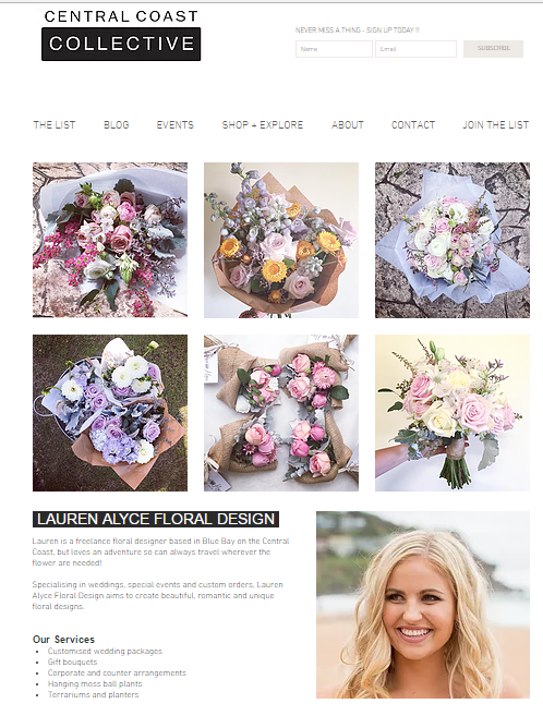 Central Coast Collective - Florist feature on the Central Coast Collective site- bringing together like minded women, female business owners and entreprenuers from around the Central Coast of NSW.Check it out here