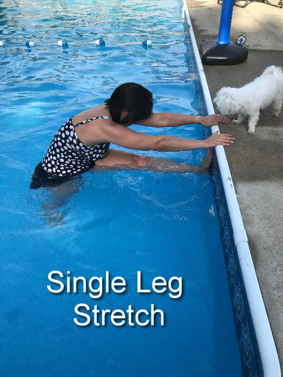 Holding onto the side of the pool,firmly plant one leg to the ground but allow a slight bend in your knee. Lift the other leg and extend it toward the side of the pool. Hold this stretch. Switch to the other side.